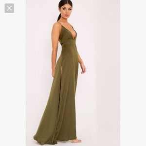 Strappy Plunge Green Maxi Dress